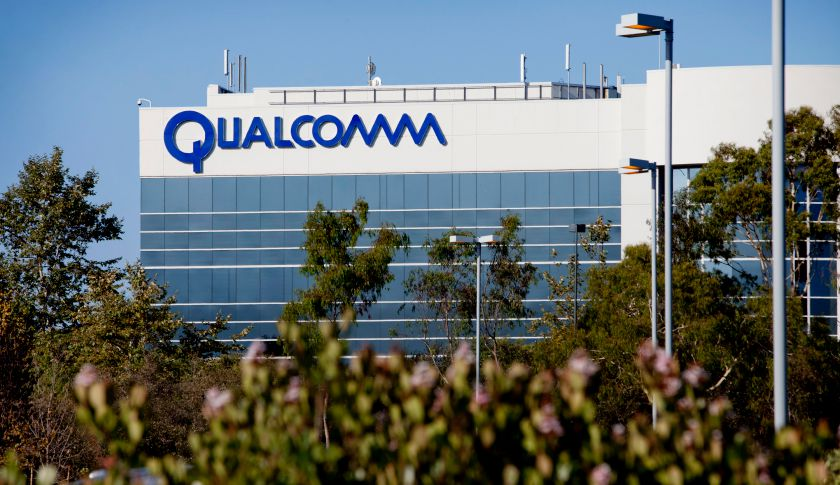 Qualcomm Inc. signage is displayed outside the company's offices in La Jolla, California, U.S., on Tuesday, Aug. 23, 2011. Qualcomm is the biggest maker of mobile-phone chips, and also owns some of the technology used in advanced, third-generation wireless services. Photographer: Konrad Fiedler/Bloomberg via Getty Images